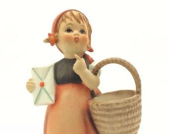 """Hummel Goebel Porcelain TMK5 FM5 Figurine Meditation Girl Basket Letter 4"""" 11cm"""