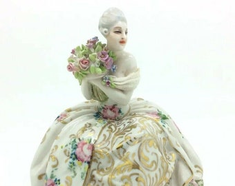 Russian Porcelain Figurine Lady with Flowers Gilded Dress Dresden Lace 5.5""