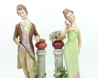 Capodimonte Porcelain Figurine Lady and Man Courting Couple Italiana Porcellana