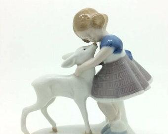 """Continental German Schneider Porcelain Figurine Girl Doe 5"""" 13cm Vintage"""