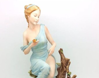 "Capodimonte Italian Naples Porcelain Figurine Lady Mariani 11"" 28cm Vintage"
