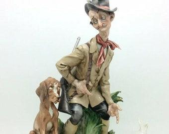 Capodimonte Giuseppe Cappe Hunter Dog Chicken Italian Works of Art Porcelain