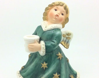 "Goebel Figurine 42 328 Angel Christmas Candle Holders 6"" German Porcelain Hummel"