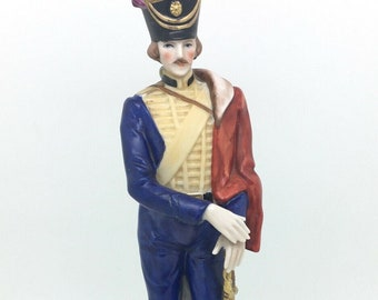 "Continental Porcelain Soldier Figurine Officer Royal Irish Hussars 9.5"" 24cm"