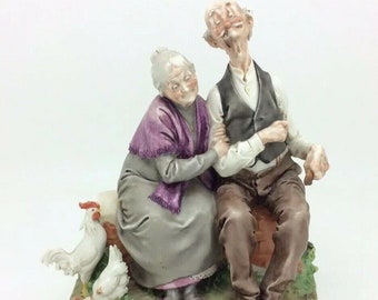 Capodimonte Giuseppe Cappe Old Couple Chickens Italian Works of Art Porcelain