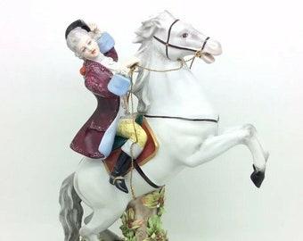 "Naples Italian Porcelain Man Riding a Horse Capodimonte 10.5"" 26cm G. Armani"