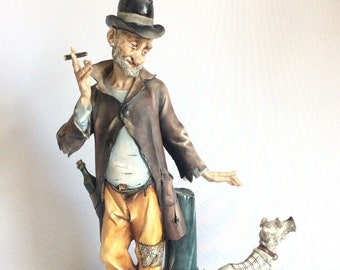 "Vintage Capodimonte IPA Porcelain Figurine Man with Dog Smoking Cigar 33cm 13"""
