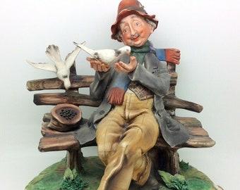 "Capodimonte Figure Milio Man Bench Feeding Pigeons 25cm 10"" Vintage Collectible"