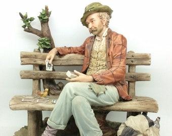 """Capodimonte Porcelain Figure Man Playing Cards Maggioni 10"""" Il Solitario Italian"""