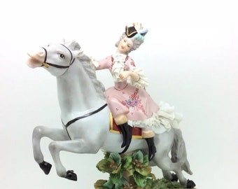 "Naples Italy Porcelain Lacework Lady Riding on a Horse Capodimonte 9.5"" 24cm"