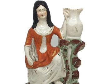 """Staffordshire English Girl with Jug at Well Porcelain Figure c1880 8"""" 20cm"""