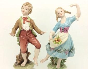 "Capodimonte Italy Porcelain Figure Dancing Boy Girl Merli 7.5"" 19cm"