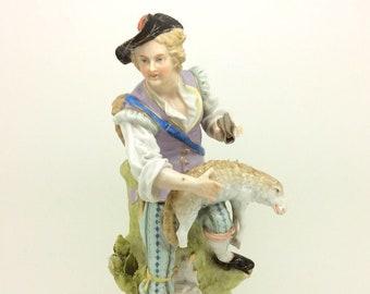 "Antique Sitzendorf Continental German Porcelain Figurine Shepherd AF 27cm 10.5"""