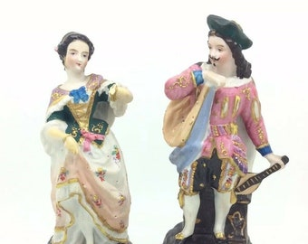 "Antique English Bisque Porcelain Victorian Courting Couple Musician 7.5"" 19cm"
