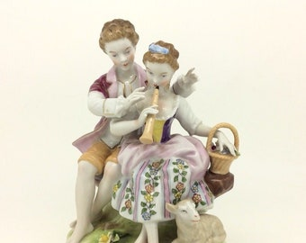 """Continental German Porcelain Figurine Group Courting Couple 6.5"""" 16cm"""