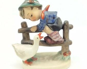 "Hummel Goebel TMK4 195 Porcelain Figurine Boy with Goose Barnyard Hero 4"" 10cm"