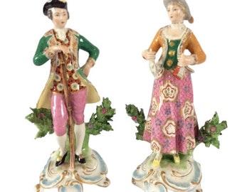 "Antique Continental German Kalk Porcelain Figurine x2 Hunter Man Lady 23cm 9"""