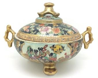 """Japanese Satsuma Porcelain Large Bowl with Lid Geisha Scene 7"""" 18cm"""