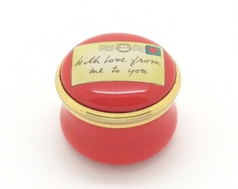 """HALCYON DAYS With Love From Me to You Letter Trinket Pill Box Small 1"""""""