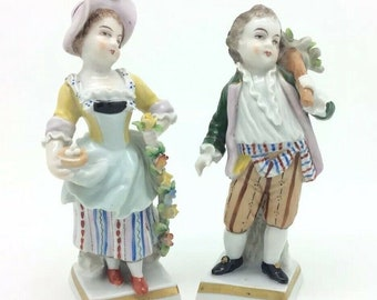 """Continental German Porcelain Figurine Boy and Girl Blue N with Crown 4.5"""" 11cm"""