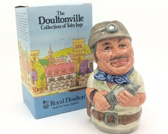 Royal Doulton Mike Mineral the Miner Doultonville Collection D6741 Toby Jug