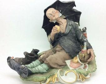 """Capodimonte Cappe Porcelain Figurine Man Tramp Barbone Wine Umbrella 6.5"""""""