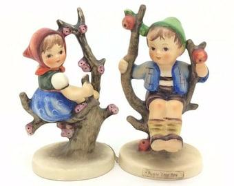 "Hummel Goebel Porcelain Figurine Apple Tree Girl and Boy 141 142 TMK3 4"" 10cm"