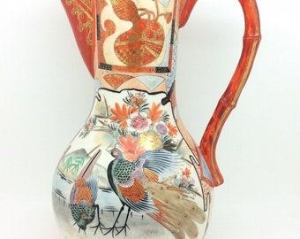 """Large Polychrome Japanese Meiji Period Kutani Pitcher Vase Signed Birds 10.5"""""""