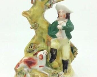 "Staffordshire English Dog Hunting Scene Spill Vase Porcelain Figure c1880 6"""