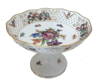 """Dresden Porcelain Reticulated Floral Gilded Centrepiece Tazza 4.5"""" 14cm"""