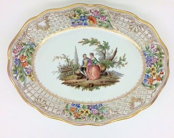 """Antique Dresden Reticulated Floral Courting Couple Porcelain Bowl Plate 10.5"""""""
