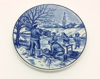 Royal Delfts Blauw Handwerk Blue Collectors Porcelain Delftware Plate Winter 7.5