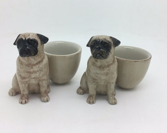 "Porcelain Pug Egg Holder Easter Dog Lover Collectible Qual Pottery 3"" 8cm"