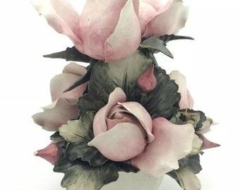 Capodimonte Rose Flower Floral Bouquet Table Decoration Italian Porcelain