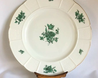 Rosenthal Porcelain Large Dinner Plate Bremen Chippendale Green Bloom 1950