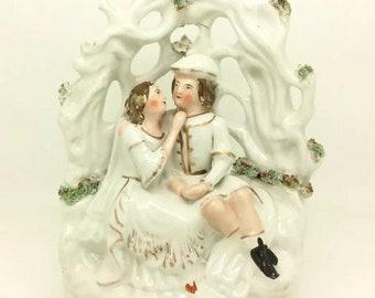 Staffordshire English Wedding Couple Valentine Lovers Porcelain Figure c1880