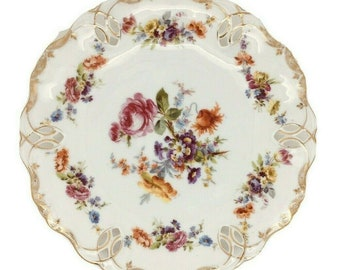 "Antique German Dresden Porcelain Reticulated Plate Gilded Floral Blue Crown 8.5"""