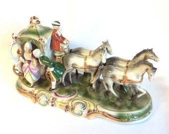 Large Vintage German Porcelain Carriage Horse Figure Gräfenthal Thüringen c1960
