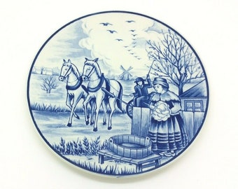 Royal Delfts Blauw Handwerk Porcelain Blue Collectors Dutch Delftware Plate