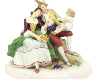 "German Porcelain Figurine Group Family Eating Apples 19cm 7.5"" Continental"