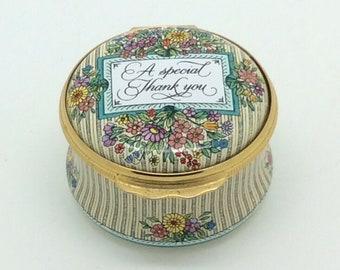 "Halcyon Days Enamel Trinket Pill Box Special Thank You 2"" 5cm Porcelain Vintage"