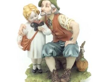 Vintage Italian Porcelain Capodimonte Figurine Girl Grandfather Porcellana