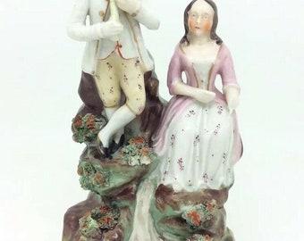 "Antique Staffordshire English Courting Couple Lady Man Porcelain Figure 6.5"" AF"