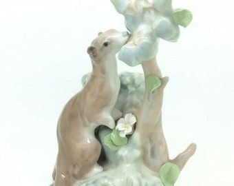 """Very Rare Early 1970s Lladro Wild Animal Otter Porcelain Figurine Collectible 9"""""""