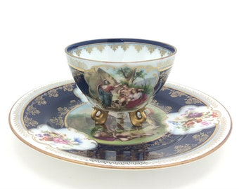 Royal Vienna Beehive Porcelain Cup and Saucer Scene of 4 Ladies in Landscape