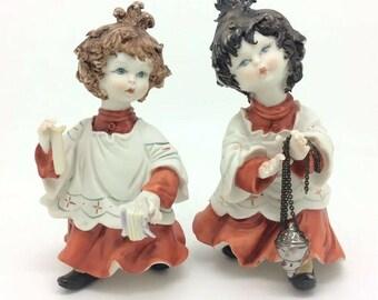 Vintage Choir Girls Italian Rori Capodimonte Christmas Porcelain Figurine AF