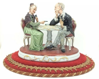 Capodimonte Old Couple Playing Cards Vintage Italian Porcelain Figurine Fornili
