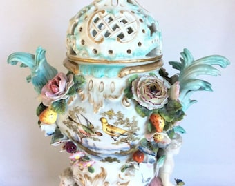 Antique Large Continental German Dresden Volkstedt Flower Encrusted Vase Urn 19c