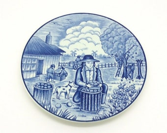 Royal Delfts Blauw Handwerk Apple Picker Collectors Porcelain Delftware Plate