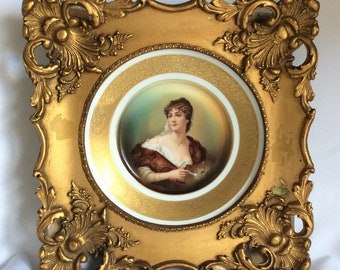 "Antique Portrait Plate Framed Rosenthal German Porcelain Plaque Lady 14"" 37cm"